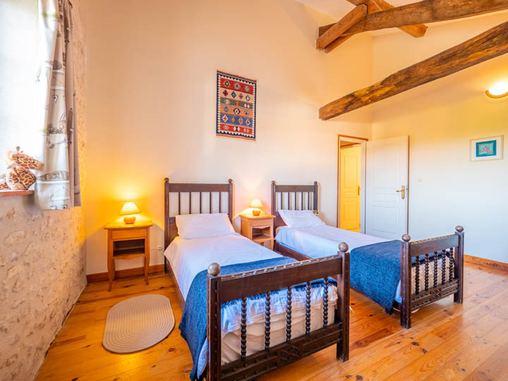 Twin bedroom of family friendly cottage in Charente, South west France