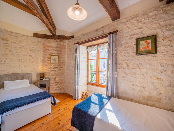 Twin bedroom of Gite in Charente, South west France
