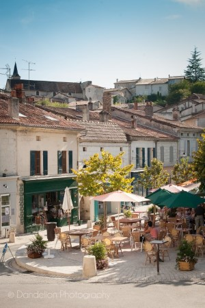 Aubeterre charming square, Holiday in Charente, South west France