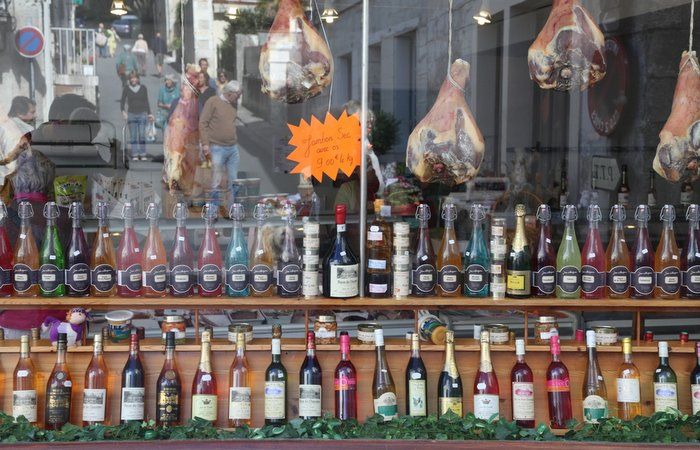 Aubeterre - butchers shop, Holiday in Charente, South west France
