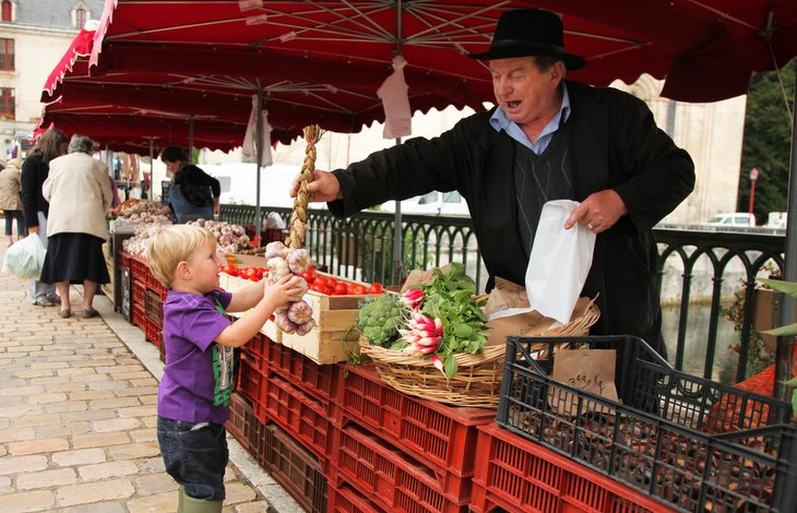 Brantome market, Holiday in Charente, South west France