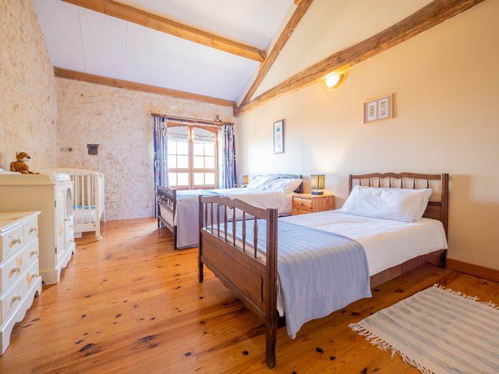 Triple bedroom of family friendly cottage in Charente, South west France