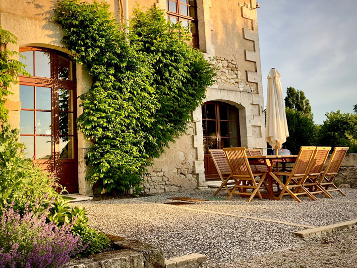 terrace of family friendly cottage in Charente, South west France