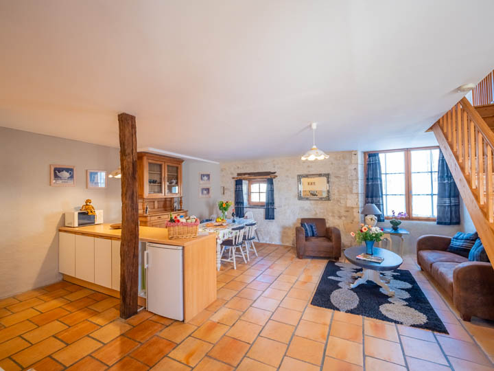 Kitchen of toddler friendly cottage in Charente, South west France
