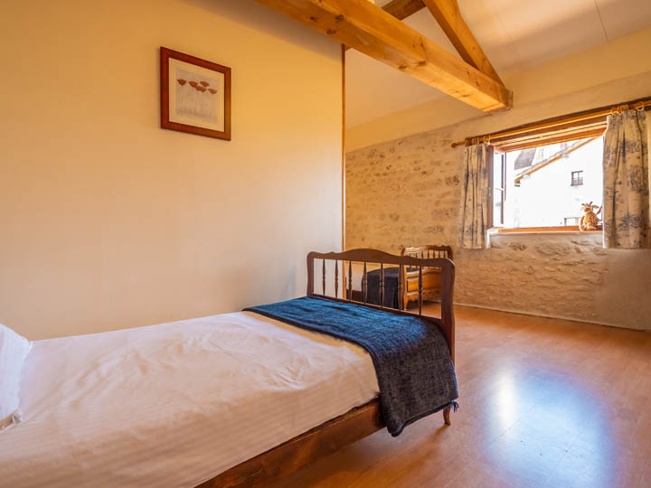 Bedroom of toddler friendly cottage in Charente, South west France