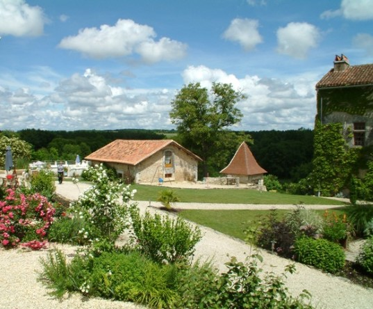 views across to playbarn, gite in Charente, South west France