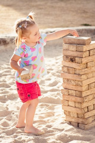 Children sized Jenga, a firm favourite on holiday